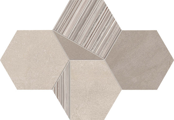 +3 Decoro Esagona Bianco-Sabbia-Paper Bianco di EMILGROUP | Mosaici ceramica
