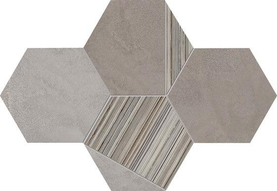 +3 Decoro Esagona Grigio-Tortora-Paper Grigio di EMILGROUP | Mosaici ceramica