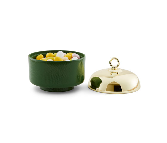 Belle - Small green container & brass cover de Incipit Lab srl | Bols