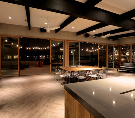 Multi-Slide Doors - Aluminum Wood | Morgan's On Fulton by LaCantina Doors | Glass room doors