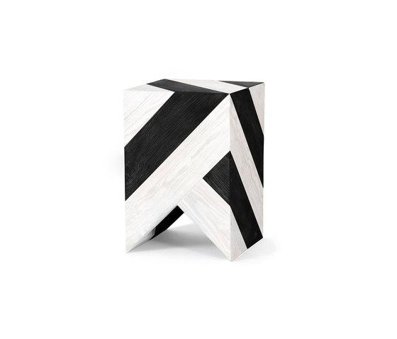Series 45 Stool/Side Table black&white stripes de Daniel Becker Studio | Mesas auxiliares