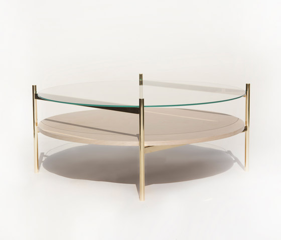 Duotone Circular Coffee Table | Brass /  Birch de Yield | Tables basses