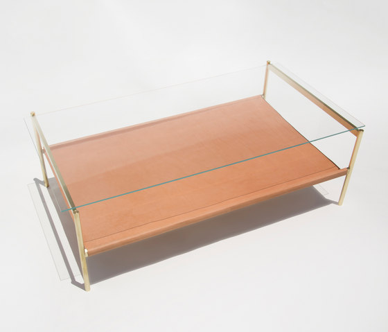 Duotone Rectangular Coffee Table | Brass / Tan de Yield | Tables basses