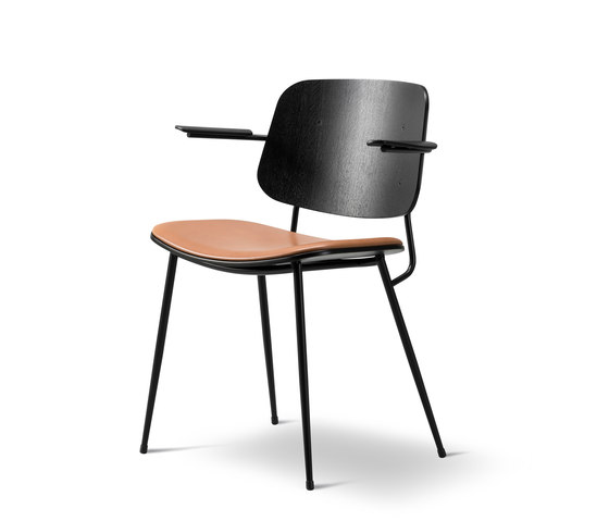 Søborg Steel Base Armchair - seat upholstered von Fredericia Furniture | Stühle