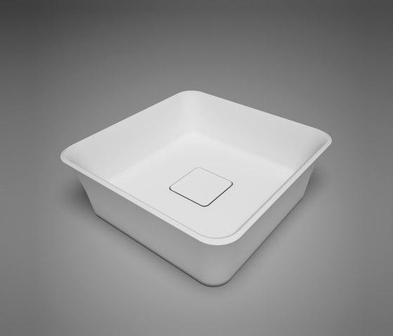 box | blu•stone™ square countertop basin with drain cover by Blu Bathworks | Wash basins