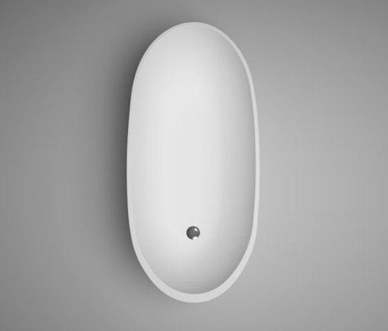 halo | petite blu•stone™ freestanding oval bathtub - white matte by Blu Bathworks | Bathtubs