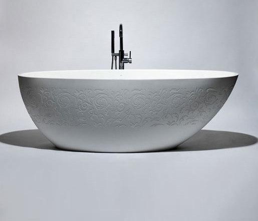 halo | blu•stone™ freestanding oval bathtub by Blu Bathworks | Bathtubs