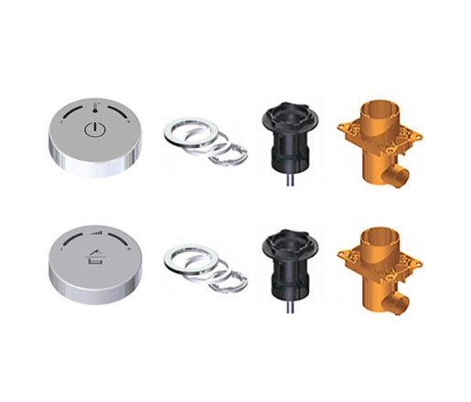 electronica   DUO • 1  wall mount control wheel kit by Blu Bathworks   Wash basin taps