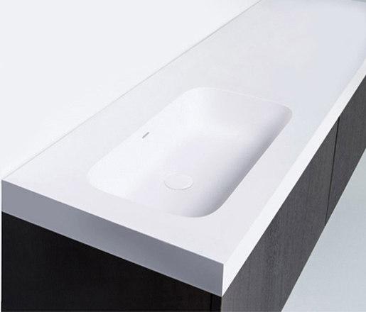 blu•stone™ vanity tops | series 1400 with left offset basin by Blu Bathworks | Wash basins