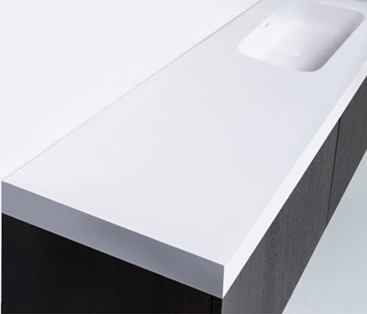 blu•stone™ vanity tops | series 1400 with right offset basin by Blu Bathworks | Wash basins