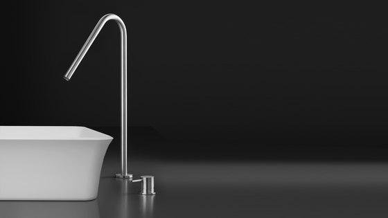 inox   stainless steel single-hole, deck-mount basin spout by Blu Bathworks   Wash basin taps