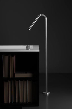 "inox |stainless steel 37"" freestanding swan-neck tubfiller spout by Blu Bathworks 