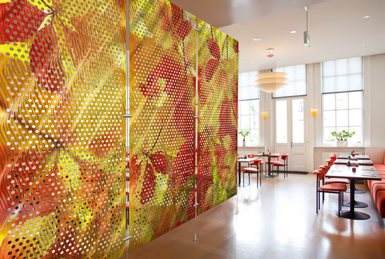 Metal Room Divider in Digital Imagery Metal Collection with Ripples on  Perforated Aluminum by Moz Designs   Privacy screen