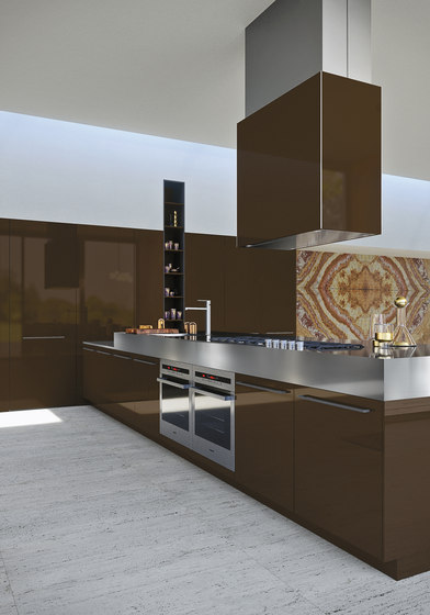 Opera | absolute brown by Snaidero USA | Kitchen hoods
