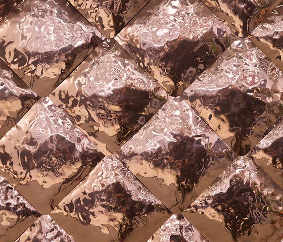 Matelassé polished hammered copper by De Castelli | Metal tiles