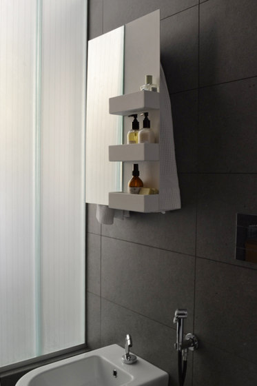 Geometrici towel warmer rectangle & shelves mirror by mg12   Mirrors