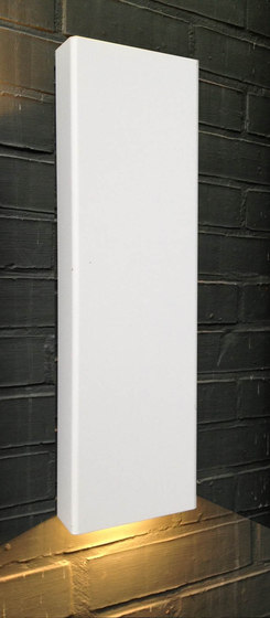 SIMPLY PILLAR down Wall large White LED di PVD Concept | Lampade outdoor parete