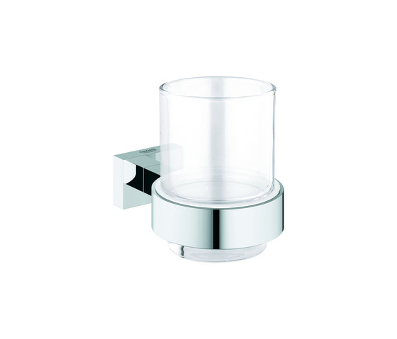 Essentials Cube Crystal glass with holder by GROHE | Toothbrush holders