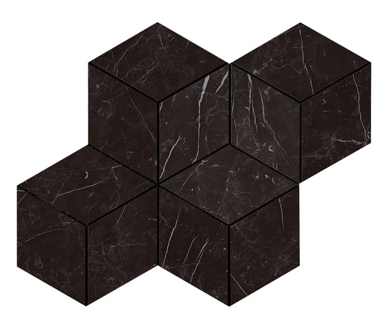 Marvel Stone mosaico esagono nero marq lappato von Atlas Concorde | Keramik Fliesen