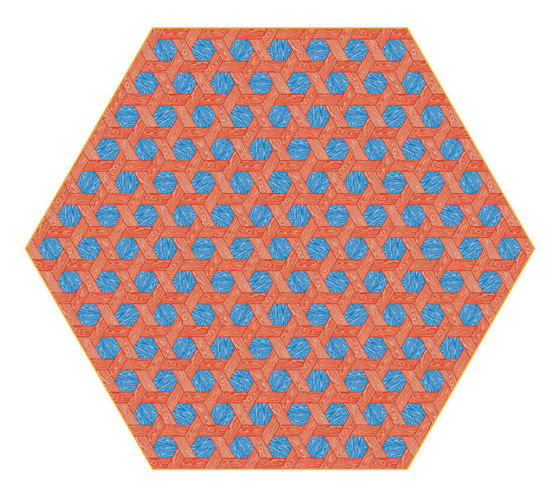 Hexagon | red blue rug by moooi carpets | Rugs