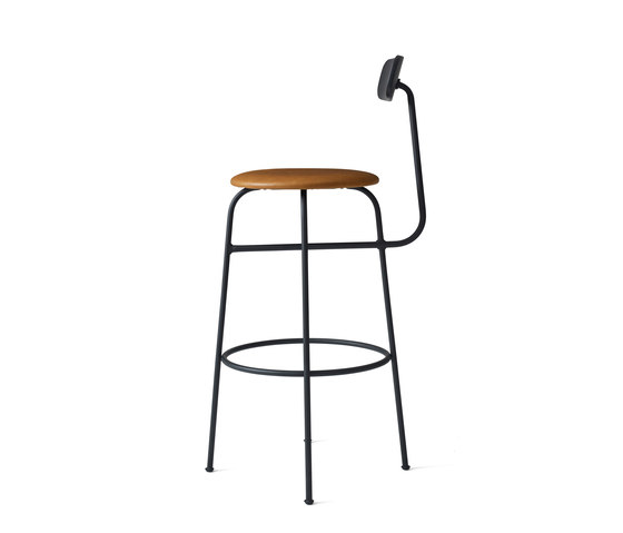 Afteroom Bar Chair | Black/Cognac by MENU | Bar stools