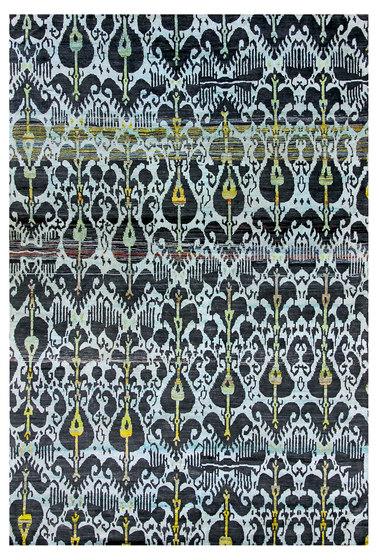 Kundan Diffusion Koti Silk Ikat 12 in Aubergine & Lemon de Zollanvari | Alfombras / Alfombras de diseño