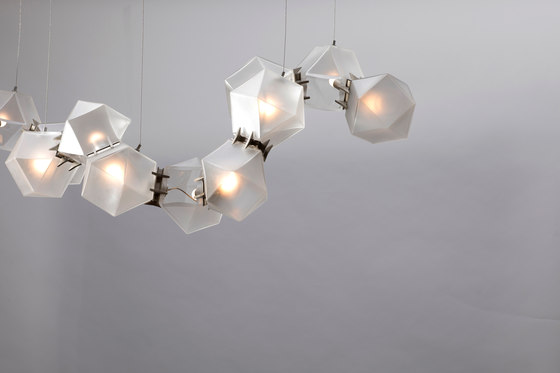 WELLES GLASS Long Chandelier by Gabriel Scott | Suspended lights