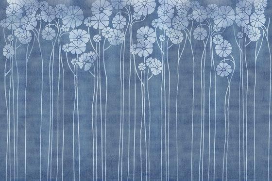 Denim Daisy Blue by GLAMORA   Bespoke wall coverings