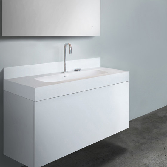 "blu•stone™  39¼"" basin backsplash by Blu Bathworks 