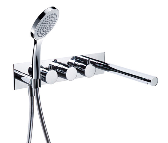 pure∙2 | wall-mount modular thermostatic tubfiller & handshower trim by Blu Bathworks | Bath taps