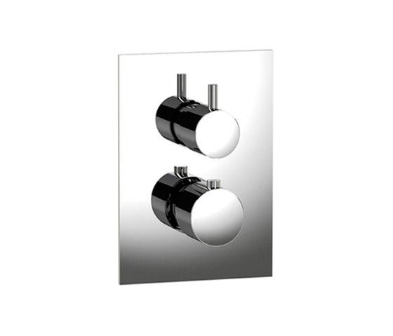 pure∙2 | thermostatic tub/shower valve trim with volume control, square trim by Blu Bathworks | Shower controls