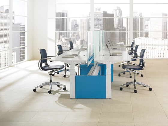 Height-Adjustable Bench by Teknion   Contract tables