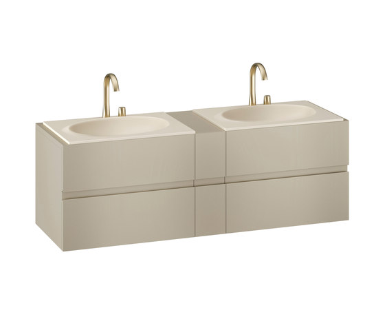 MUEBLES DE BAÑO | Mueble de 1800 mm con cajón superior e inferior para dos lavabos de 770mm de encimera | Greige de Armani Roca | Armarios lavabo