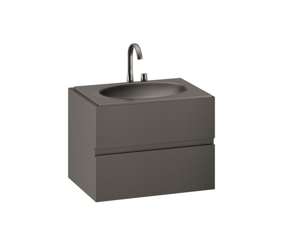 FURNITURE | 820 mm Furniture with upper and lower drawer for single 770 mm countertop washbasin | Nero by Armani Roca | Vanity units