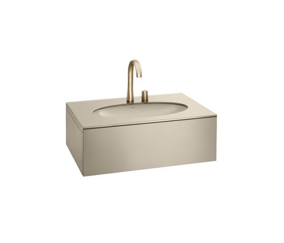 1200 mm Furniture with upper drawer for single 670 mm under-counter washbasin.   Greige von Armani Roca   Waschtischunterschränke