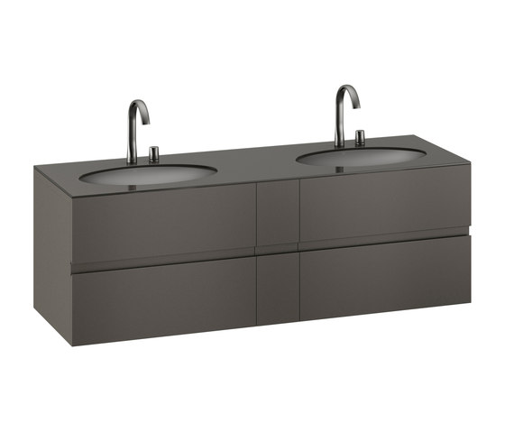 FURNITURE | 1800 mm Furniture with upper and lower drawer for two 670 mm under-counter washbasins. | Nero by Armani Roca | Vanity units