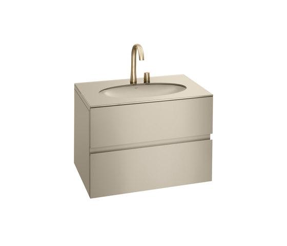 820 mm Furniture with upper and lower drawer for single 670 mm under-counter washbasin. | Greige von Armani Roca | Waschtischunterschränke