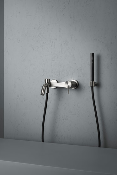 Ottavo | Stainless steel Wall mounted external mixer set by Quadro | Bath taps