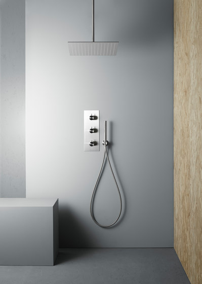 Ottavo   Stainless steel thermostatic mixer set by Quadro   Shower controls