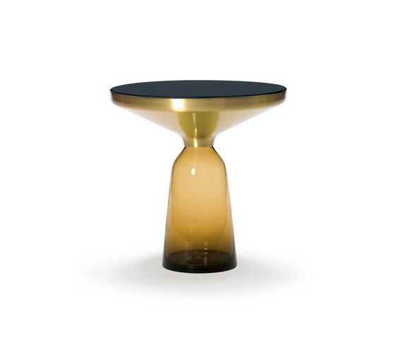 Bell Side Table brass-glass-orange by ClassiCon | Side tables