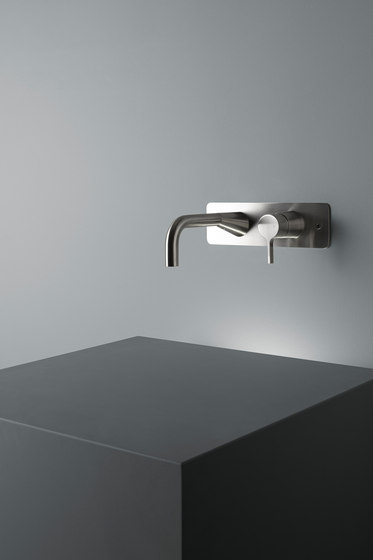 Volcano | Stainless steel Wall mounted mixer by Quadrodesign | Wash basin taps