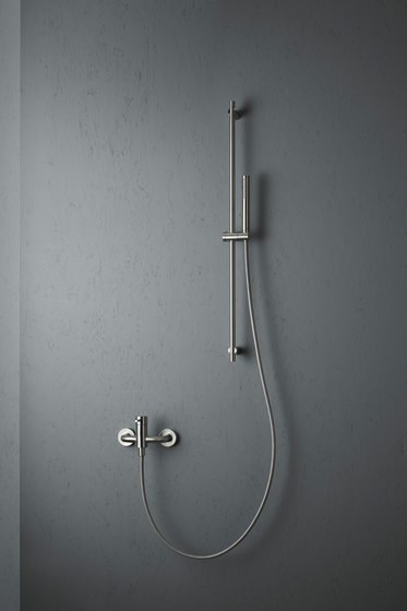 Source | Stainless steel Wall mounted external mixer set by Quadrodesign | Shower controls