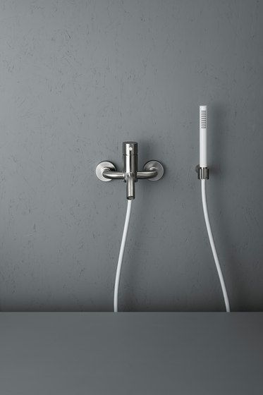Source | Stainless steel Wall mounted external mixer set by Quadro | Bath taps
