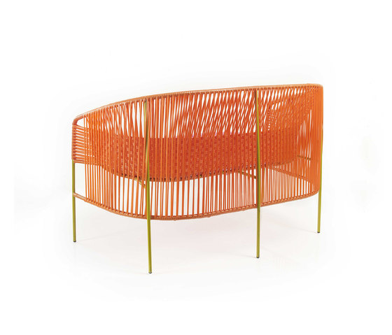 Caribe | 2-seater bank, orange/rose/curry de Ames | Bancs de jardin
