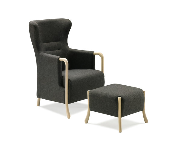 Claudia Armchair with footstool by Stouby | Armchairs