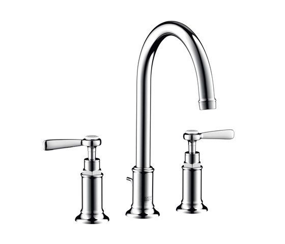 AXOR Montreux 3-hole basin mixer 180 with pop-up waste set and lever handles by AXOR | Wash basin taps