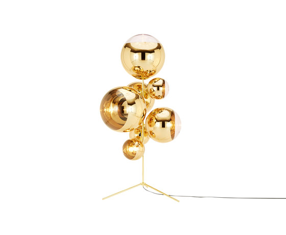 Mirror Ball Gold Stand Chandelier by Tom Dixon | Free-standing lights