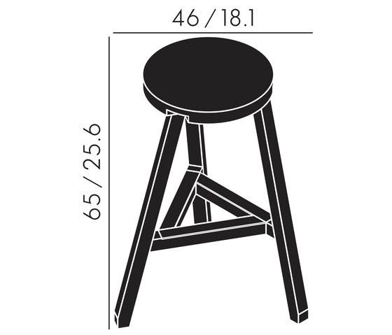 Offcut Stool 650mm Black Bar Stools From Tom Dixon