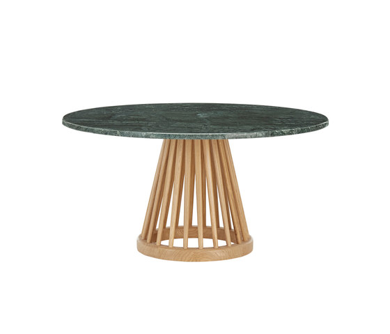 Fan Table Natural Base Green Marble Top 900mm by Tom Dixon | Coffee tables