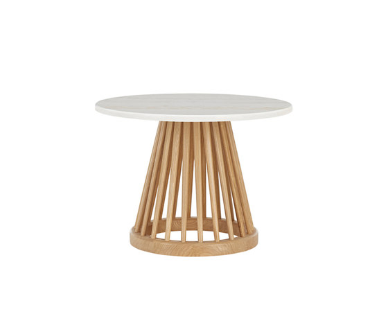 Fan Table Natural Base White Marble Top 600mm de Tom Dixon | Tables d'appoint